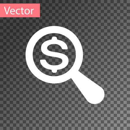 White Magnifying glass and dollar icon isolated on transparent background. Find money. Looking for money. Vector Illustration Reklamní fotografie - 120504114