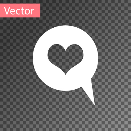 White Heart in speech bubble icon isolated on transparent background. Heart shape in message bubble. Love sign. Valentines day symbol. Vector Illustration Illusztráció