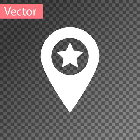 White Map pointer with star icon isolated on transparent background. Star favorite pin map icon. Map markers. Vector Illustration