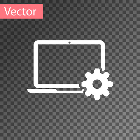 White Laptop and gear icon on transparent background. Laptop service concept. Adjusting app, setting options, maintenance, repair, fixing laptop concepts. Vector Illustration