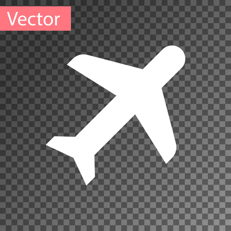 White Plane icon isolated on transparent background. Flying airplane icon. Airliner sign. Vector Illustration Illustration
