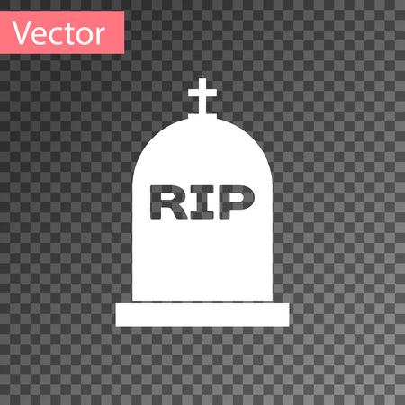White Tombstone with RIP written on it icon isolated on transparent background. Grave icon. Vector Illustration