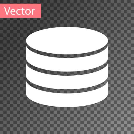 White Database icon isolated on transparent background. Network databases, disc with progress bar. Backup concept. Vector Illustration