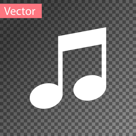 White Music note, tone icon isolated on transparent background. Vector Illustration