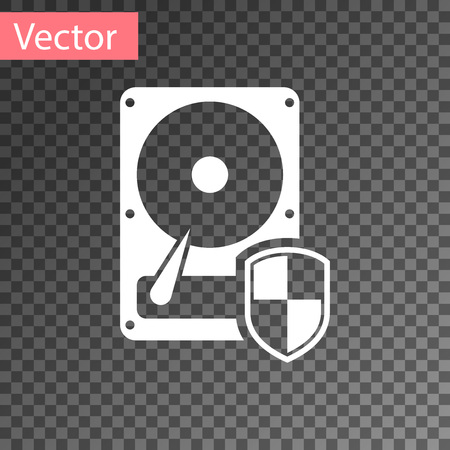 White Hard disk drive HDD protection icon isolated on transparent background. Vector Illustration