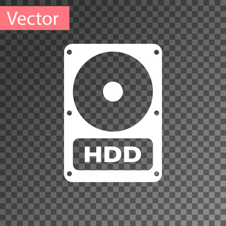 White Hard disk drive HDD icon isolated on transparent background. Vector Illustration Illustration