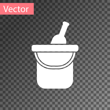 White Bottle of wine in an ice bucket icon isolated on transparent background. Vector Illustration