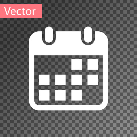 White Calendar icon isolated on transparent background. Vector Illustration