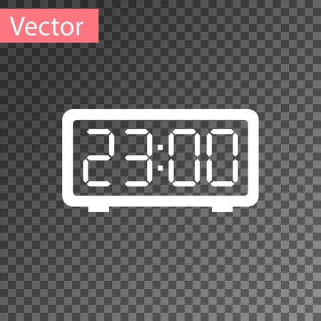 White Digital alarm clock icon isolated on transparent background. Electronic watch alarm clock. Time icon. Vector Illustration