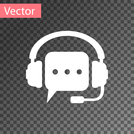 White Headphones with speech bubble icon on transparent background. Support customer services, hotline, call center, guideline, faq, maintenance, assistance. Vector Illustration Vettoriali