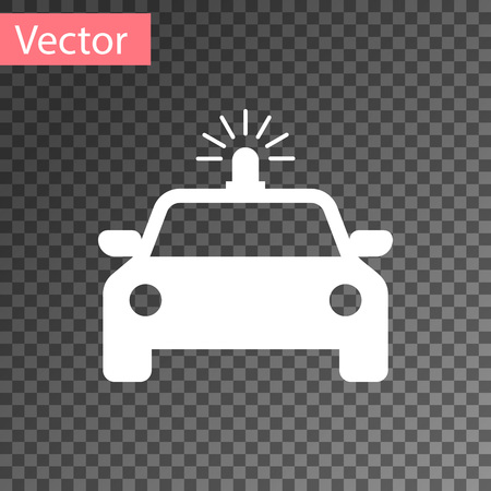 White Police car and police flasher icon isolated on transparent background. Emergency flashing siren. Vector Illustration Illustration