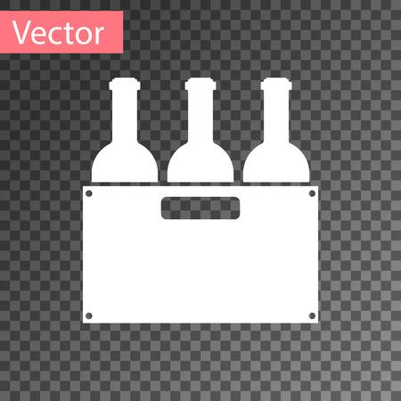 Bouteilles blanches de vin dans une icône de boîte en bois isolée sur fond transparent. Bouteilles de vin dans une icône de caisse en bois. Illustration vectorielle