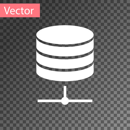 White Server, Data, Web Hosting icon isolated on transparent background. Vector Illustration
