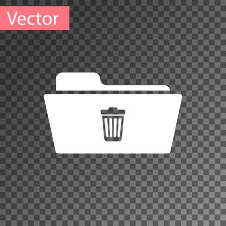 White Delete folder icon isolated on transparent background. Folder with recycle bin. Delete or error folder. Close computer information folder sign. Vector Illustration Illustration