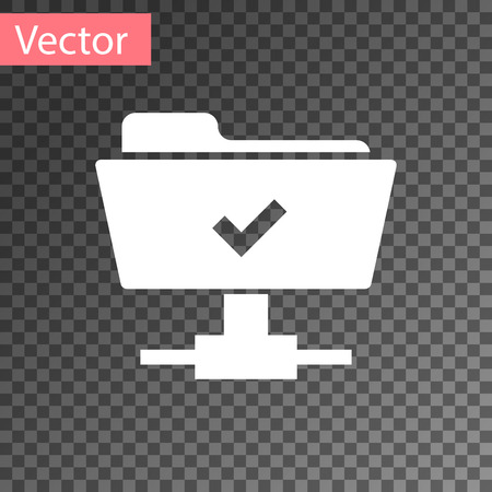 White FTP operation successful icon on transparent background. Concept of software update, transfer protocol, teamwork tool management, copy process. Vector Illustration