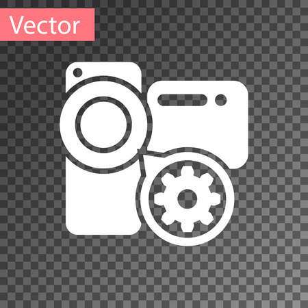 White Video camera and gear icon isolated on transparent background. Adjusting app, service concept, setting options, maintenance, repair, fixing. Vector Illustration