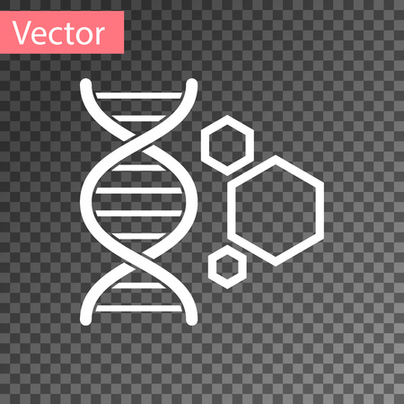 White Genetic engineering icon isolated on transparent background. DNA analysis, genetics testing, cloning, paternity testing. Vector Illustration