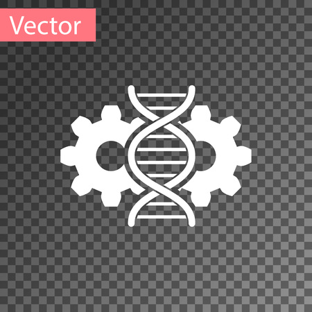 White Gene editing icon isolated on transparent background. Genetic engineering. DNA researching, research. Vector Illustration