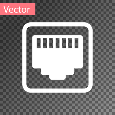White Network port - cable socket icon isolated on transparent background. LAN, port sign. Local area connector icon. Vector Illustration