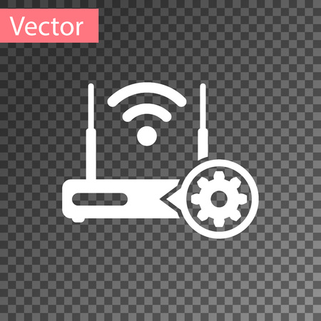 White Router and wifi signal and gear icon isolated on transparent background. Adjusting app, service concept, setting options, maintenance, repair, fixing. Vector Illustration Illustration