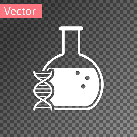 White DNA research, search icon isolated on transparent background. Genetic engineering, genetics testing, cloning, paternity testing. Vector Illustration
