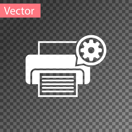 White Printer and gear icon isolated on transparent background. Adjusting app, service concept, setting options, maintenance, repair, fixing. Vector Illustration