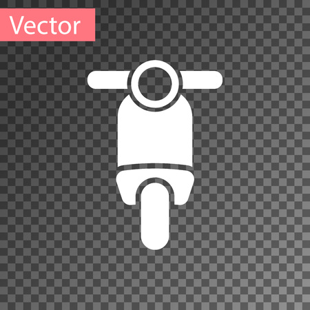 White Scooter icon isolated on transparent background. Vector Illustration