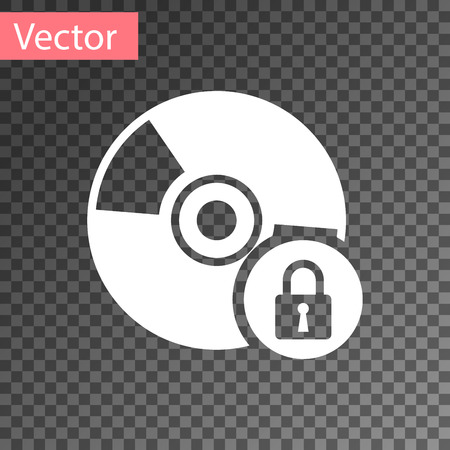 White CD or DVD disk with closed padlock icon isolated on transparent background. Compact disc sign. Security, safety, protection concept. Vector Illustration