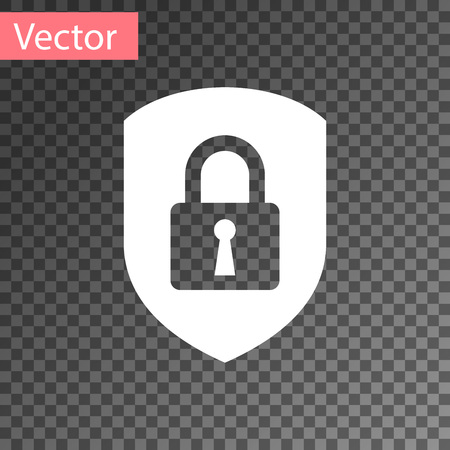 White Shield security with lock icon isolated on transparent background. Protection, safety, password security. Firewall access privacy sign. Vector Illustration