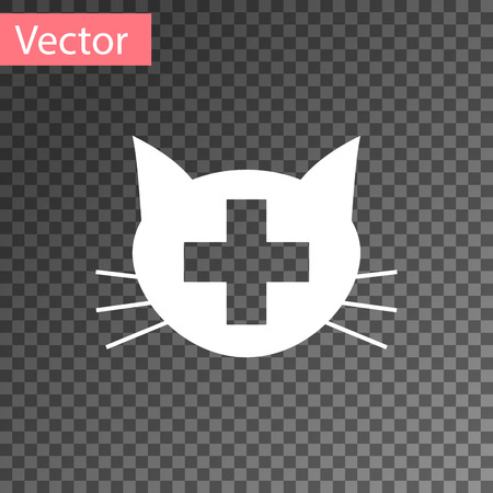 White Veterinary clinic symbol icon isolated on transparent background. Cross with cat veterinary care. Pet First Aid sign. Vector Illustration