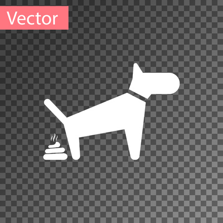 White Dog pooping icon isolated on transparent background. Dog goes to the toilet. Dog defecates. The concept of place for walking pets. Vector Illustration Illustration
