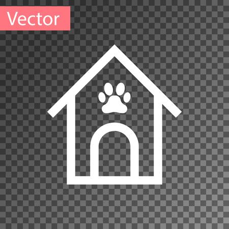 White Dog house and paw print pet icon isolated on transparent background. Dog kennel. Vector Illustration Illustration