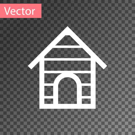 White Dog house icon isolated on transparent background. Dog kennel. Vector Illustration