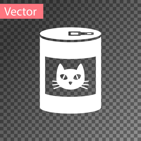 White Canned food for cat icon isolated on transparent background. Food for animals. Pet dog food can. Vector Illustration