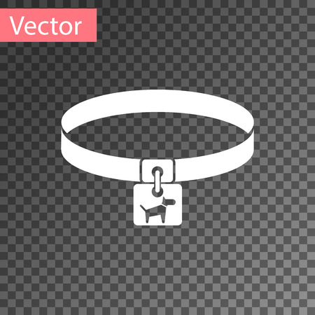 White Dog collar with name tag icon isolated on transparent background. Simple supplies for domestic animal. Cat and dog care. Pet dog chains. Vector Illustration