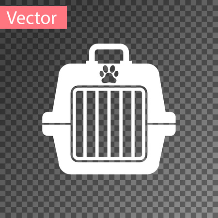 White Pet carry case icon isolated on transparent background. Carrier for animals, dog and cat. Container for animals. Animal transport box. Vector Illustration Illustration