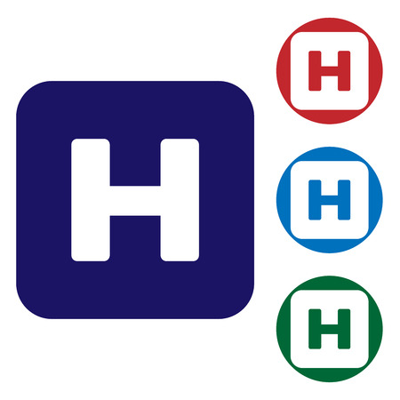 Blue Hospital sign icon isolated on white background. Set color icon in circle buttons. Vector Illustration