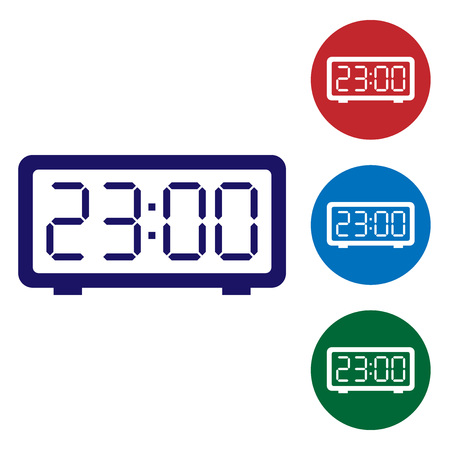 Blue Digital alarm clock icon isolated on white background. Electronic watch alarm clock. Time icon. Set color icon in circle buttons. Vector Illustration 写真素材 - 123816460