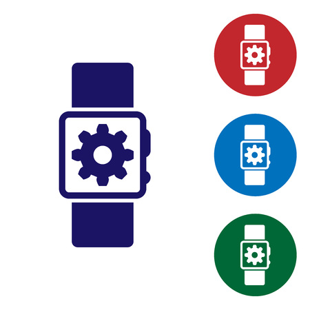 Blue Smartwatch setting icon isolated on white background. Smart watch settings. Set color icon in circle buttons. Vector Illustration  イラスト・ベクター素材