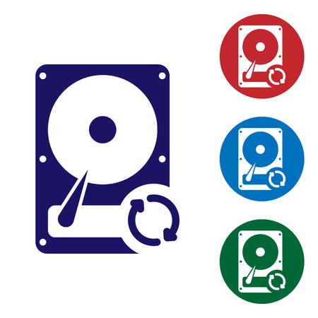 Icône de rafraîchissement de synchronisation de disque dur bleu isolé sur fond blanc. Définir l'icône de couleur dans les boutons de cercle. Illustration vectorielle