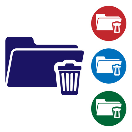 Blue Delete folder icon isolated on white background. Folder with recycle bin. Delete or error folder. Close computer information folder sign. Set color icon in circle buttons. Vector Illustration