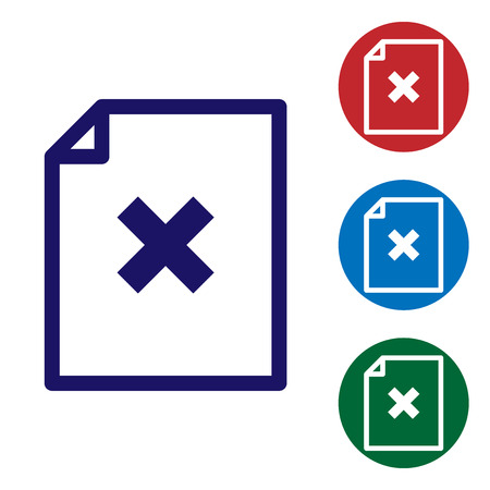 Blue Delete file document icon isolated on white background. Rejected document icon. Cross on paper. Set color icon in circle buttons. Vector Illustration