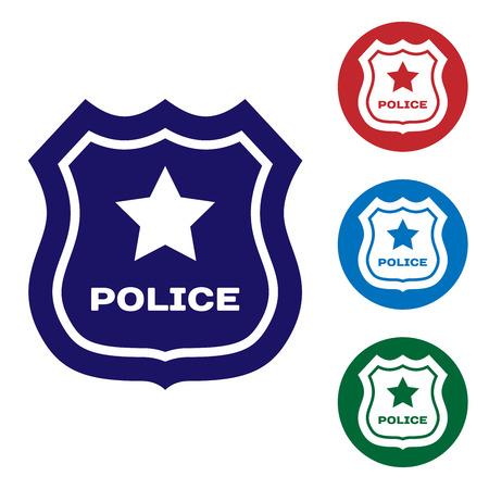 Blaue Polizei-Abzeichen-Symbol auf weißem Hintergrund. Sheriff-Abzeichen-Zeichen. Legen Sie das Farbsymbol in den Kreistasten fest. Vektorillustration Vektorgrafik