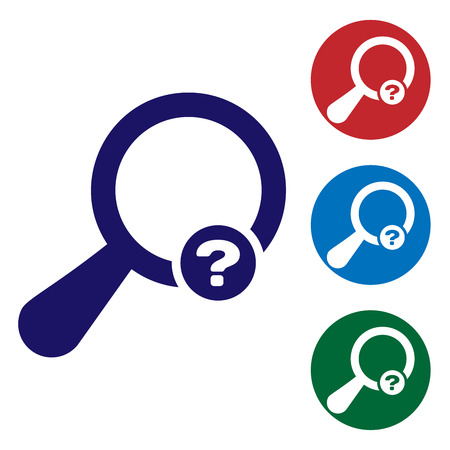 Blue Unknown search icon isolated on white background. Magnifying glass and question mark. Set color icon in circle buttons. Vector Illustration