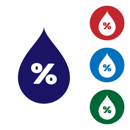 Blue Water drop percentage icon isolated on white background. Humidity analysis. Set color icon in circle buttons. Vector Illustration