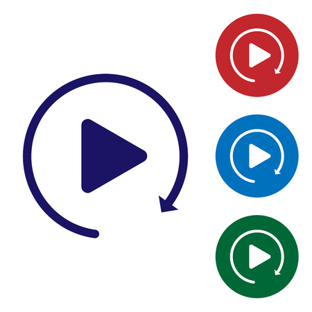Blue Video play button like simple replay icon isolated on white background. Set color icon in circle buttons. Vector Illustration