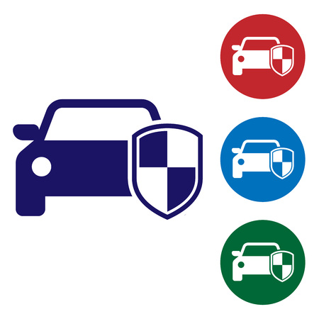 Blue Car protection or insurance icon isolated on white background. Protect car guard shield. Safety badge vehicle icon. Security auto label. Set color icon in circle buttons. Vector Illustration