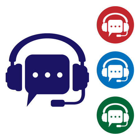 Blue Headphones with speech bubble icon on white background. Support customer services, hotline, call center, guideline, faq, maintenance, assistance. Set color in circle buttons. Vector Illustration