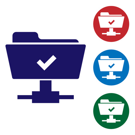 Blue FTP operation successful icon on white background. Concept of software update, transfer protocol, teamwork tool management, copy process. Set color icon in circle buttons. Vector Illustration