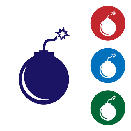 Blue Bomb ready to explode icon isolated on white background. Set color icon in circle buttons. Vector Illustration Illustration